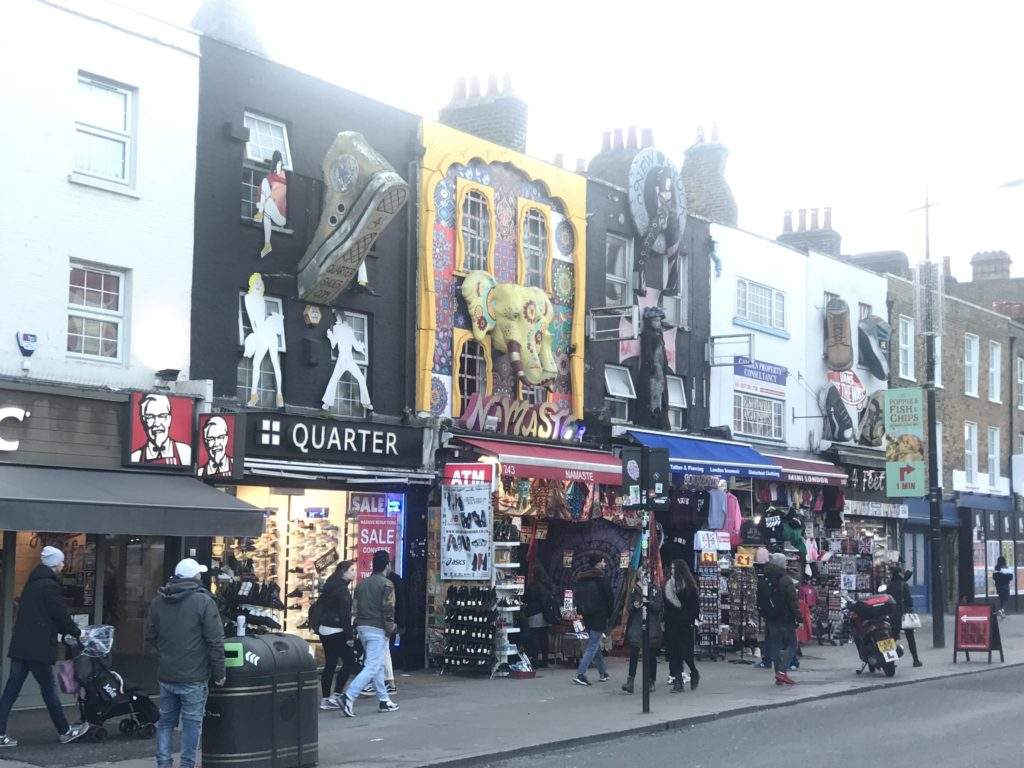Camden town buildings with all the colorful signs