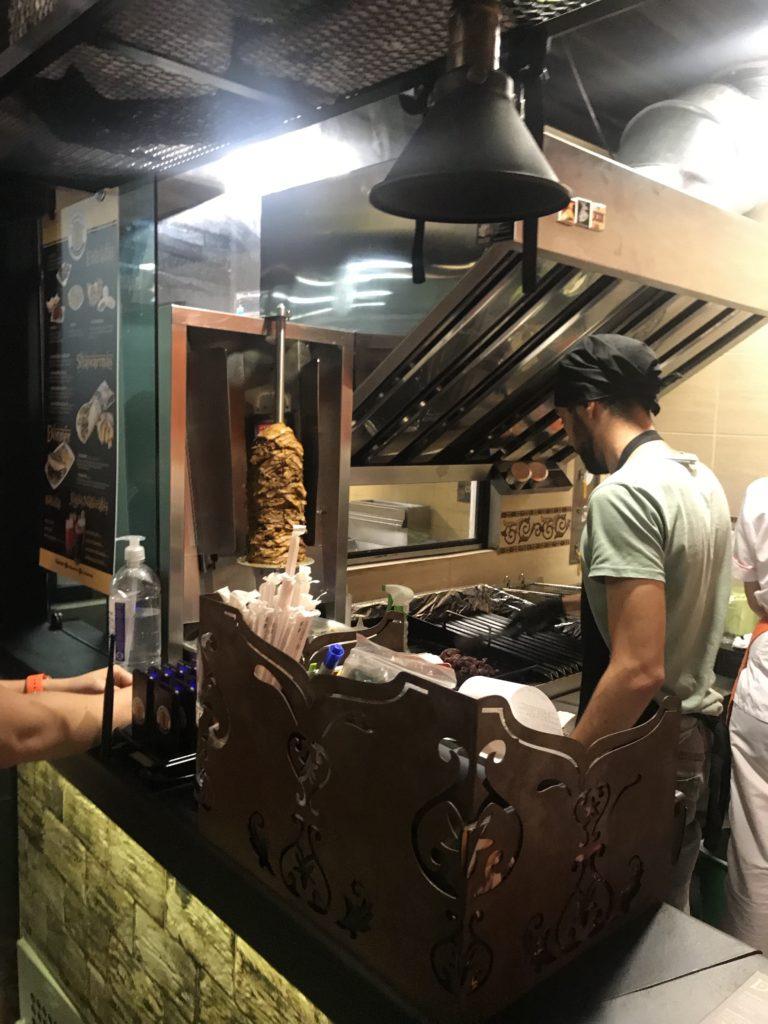 Arabic doner kebab restaurant at the Mercado