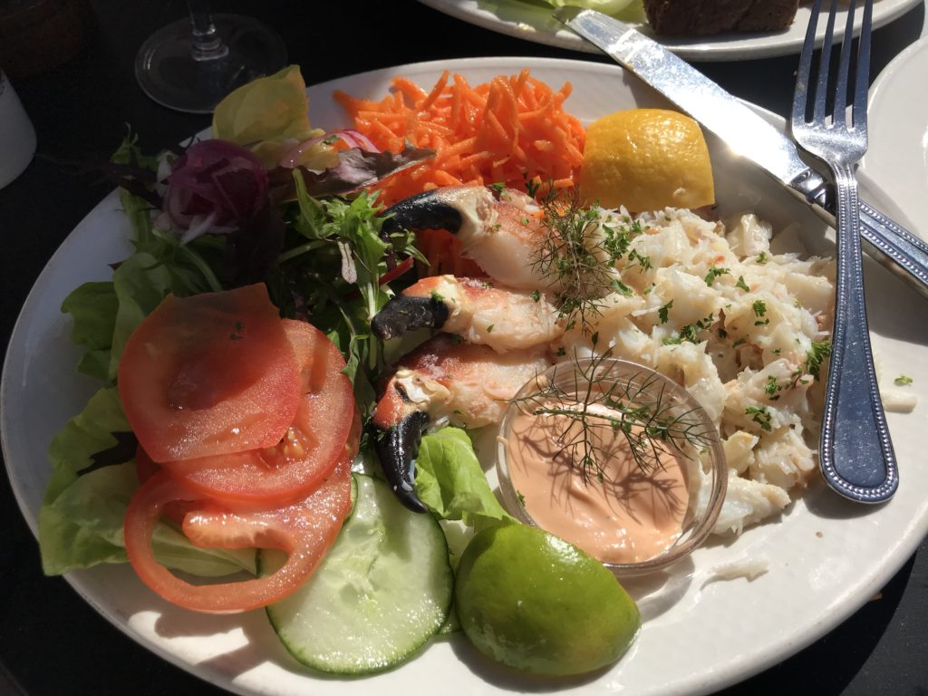 Salad with local crab meat in the sunshine
