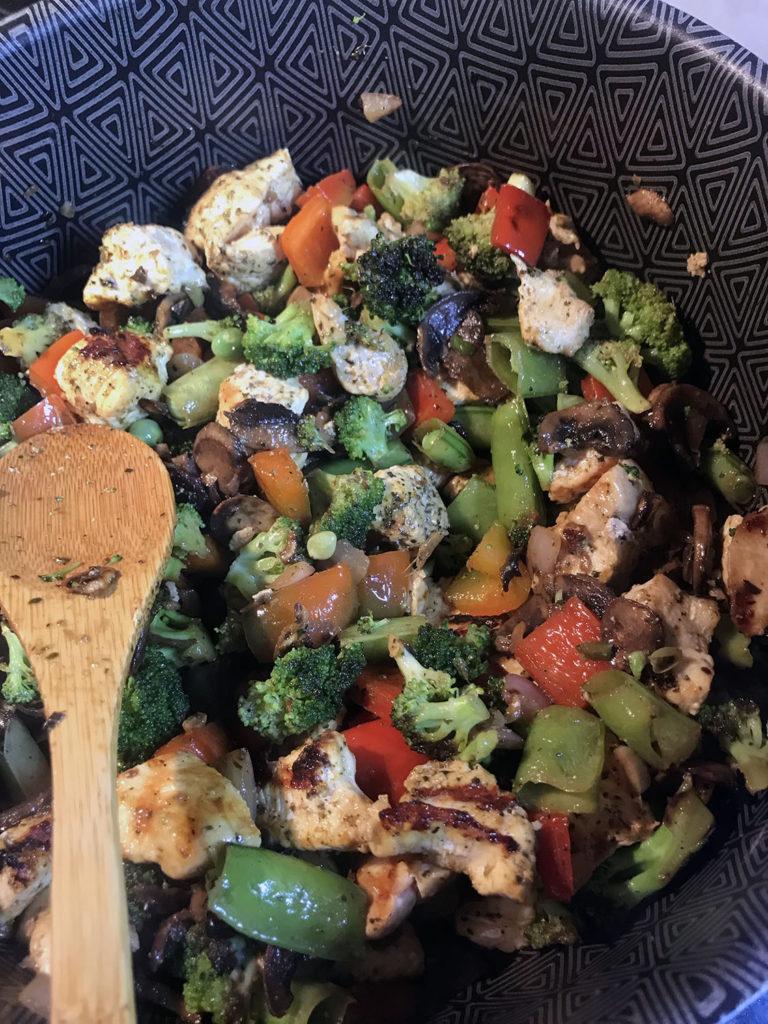 Delicious homemade chicken vegetable stir fry