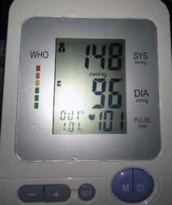 high blood pressure reading on a machine