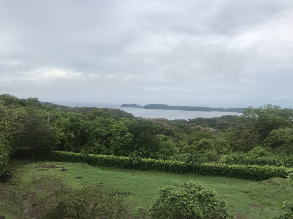 The green fields and forest over the view of Papagayo Bay