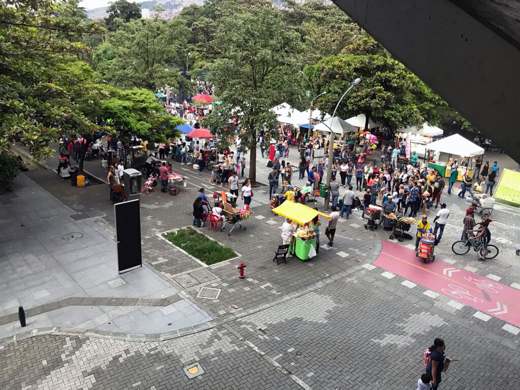 Plaza with people in it from above
